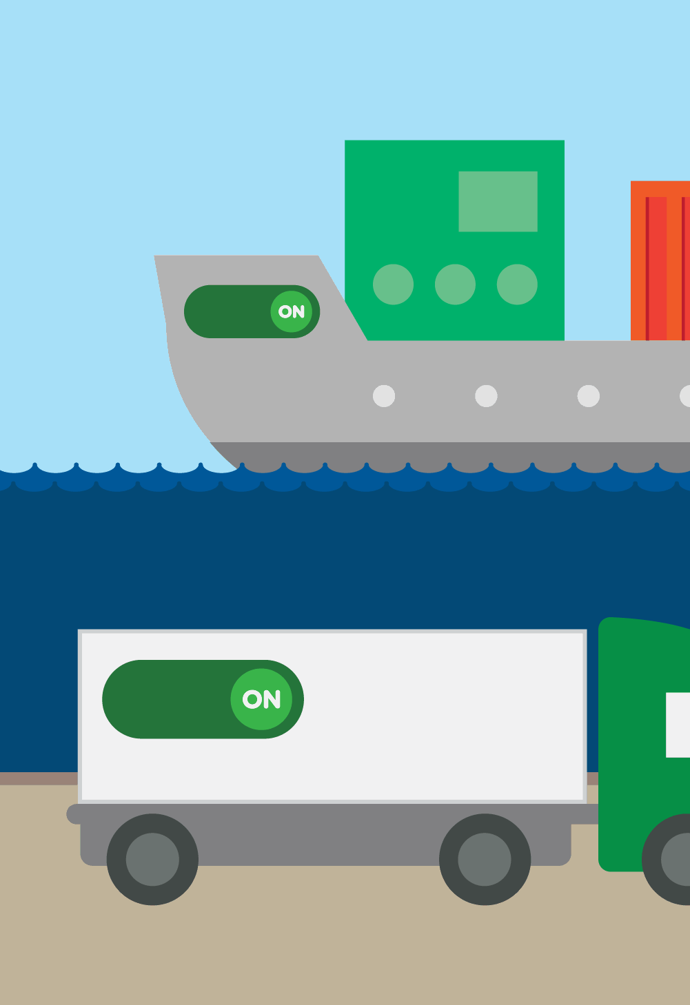 Ship and truck switching fuel to LNG/LBG